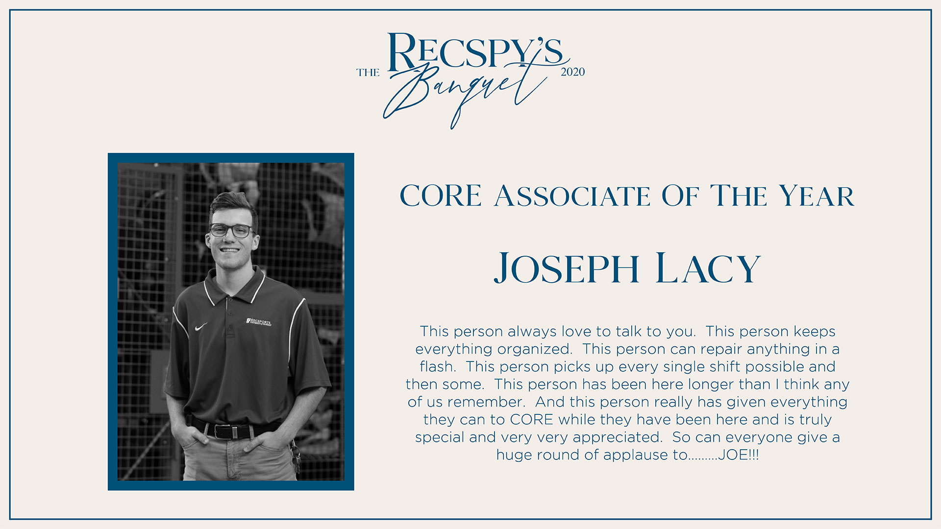 Joseph Lacy: CORE Associate of the Year