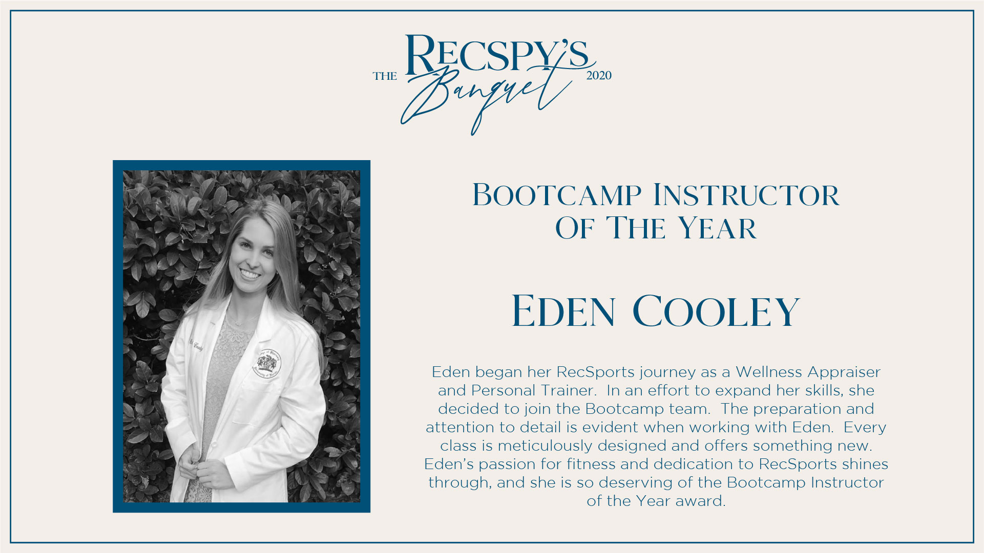 Eden Cooley: Bootcamp Instructor of the Year
