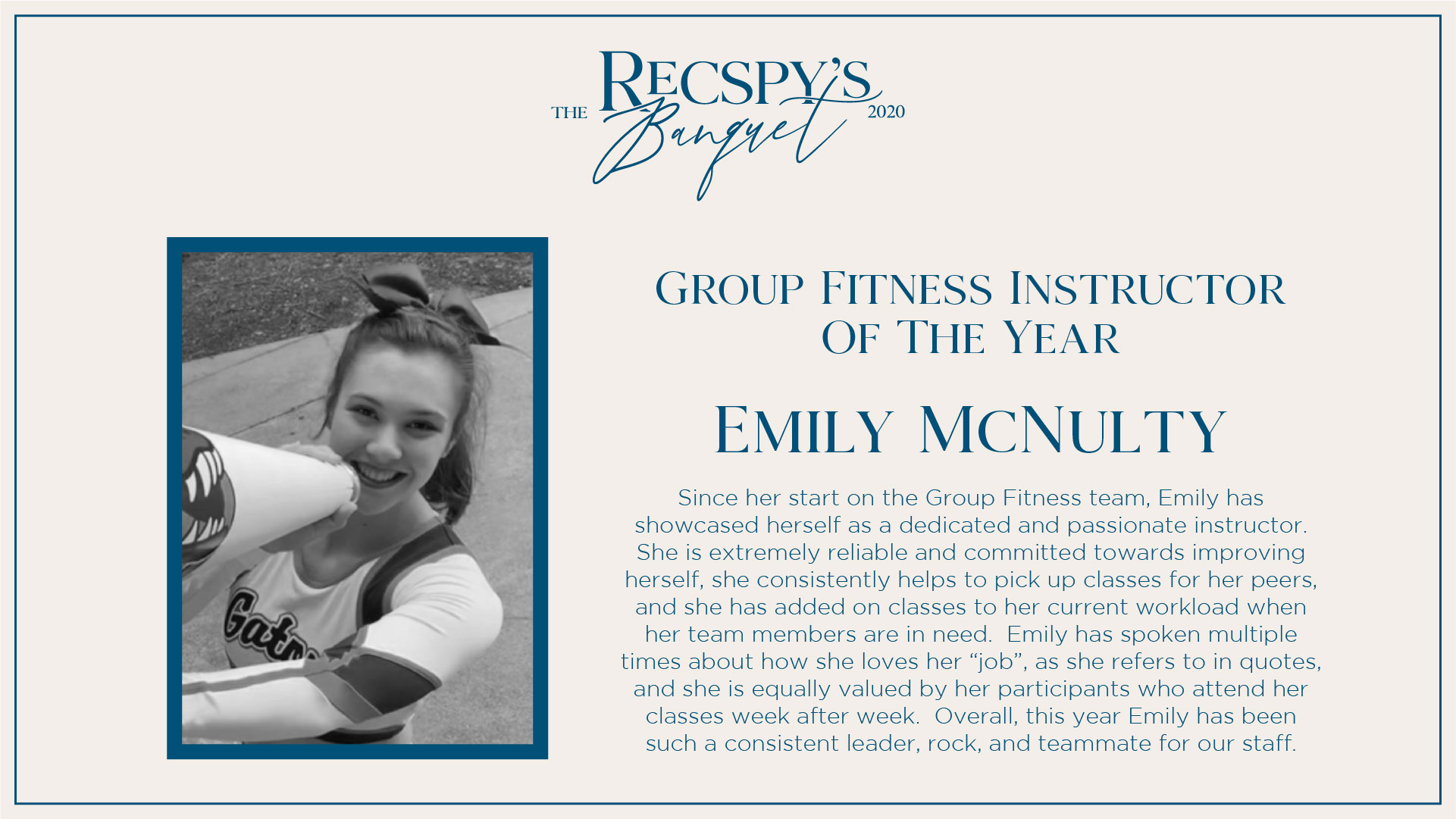 Emily McNulty: Group Fitness Instructor of the Year