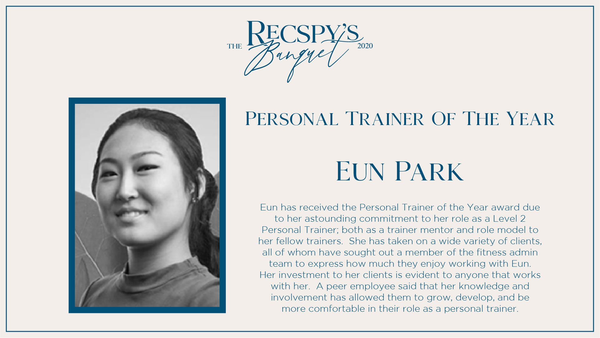 Eun Park: Personal Trainer of the Year