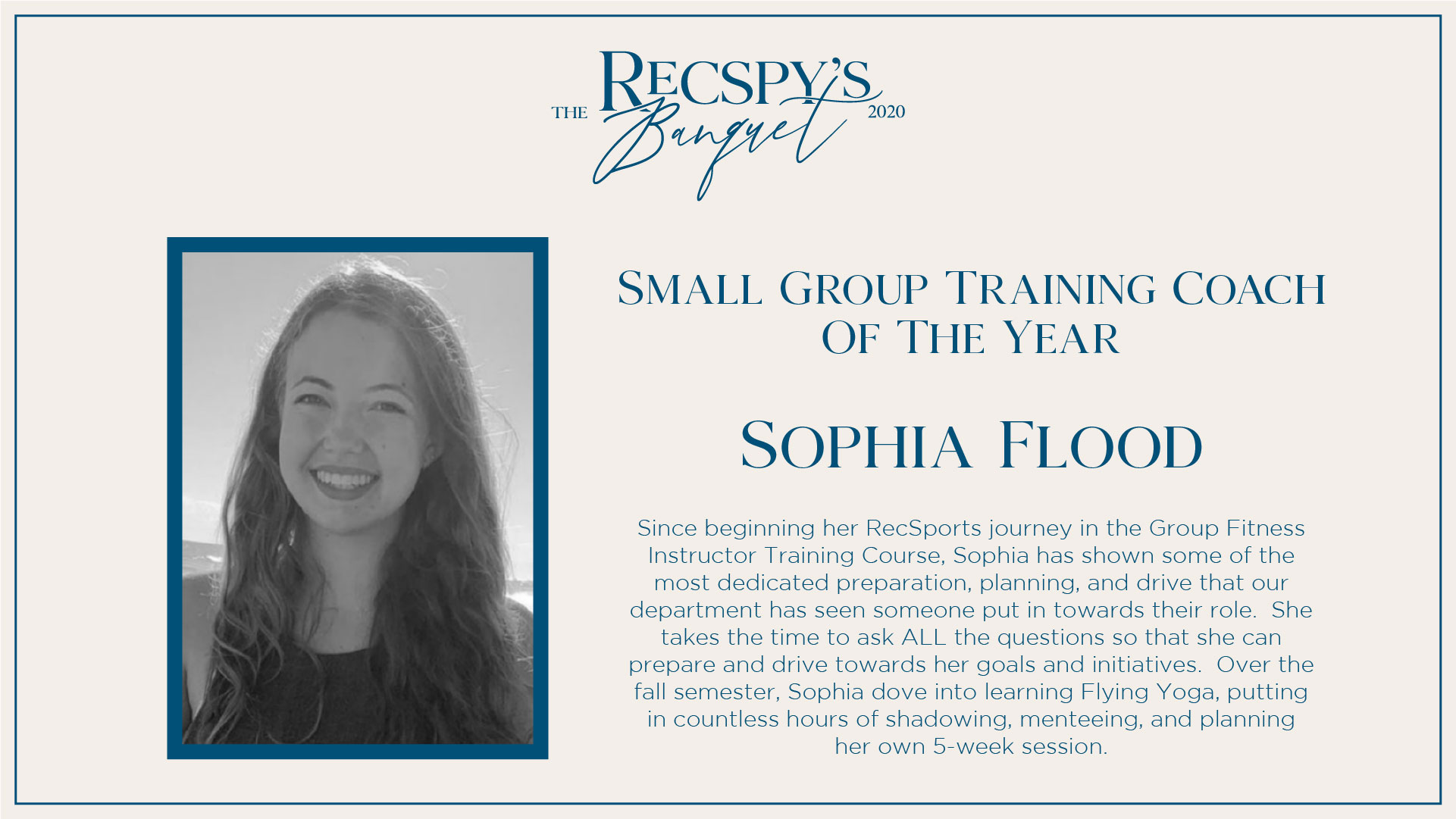 Sophia Flood: Small Group Training Coach of the Year