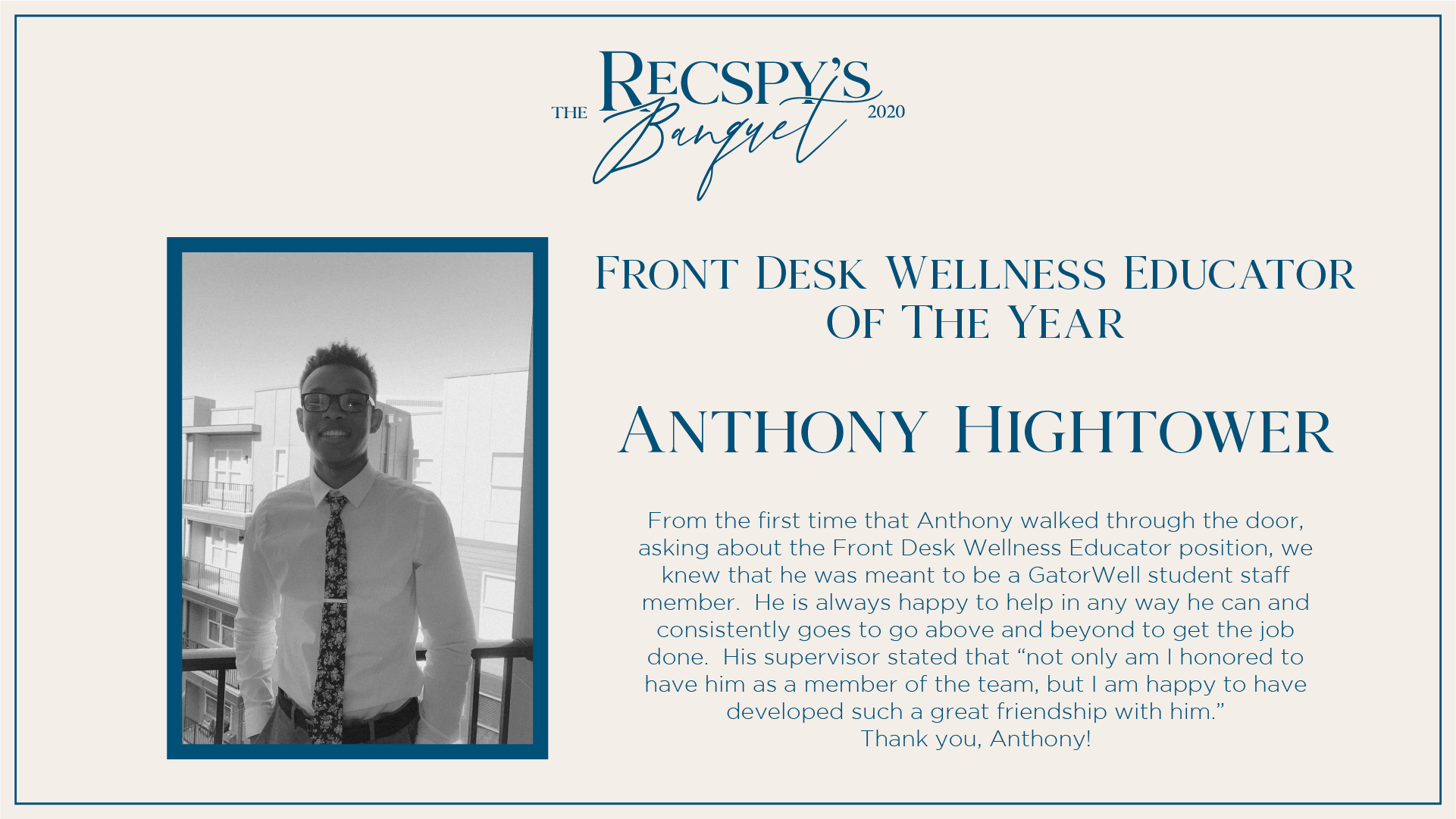 Anthony Hightower: Front Desk Wellness Educator of the Year