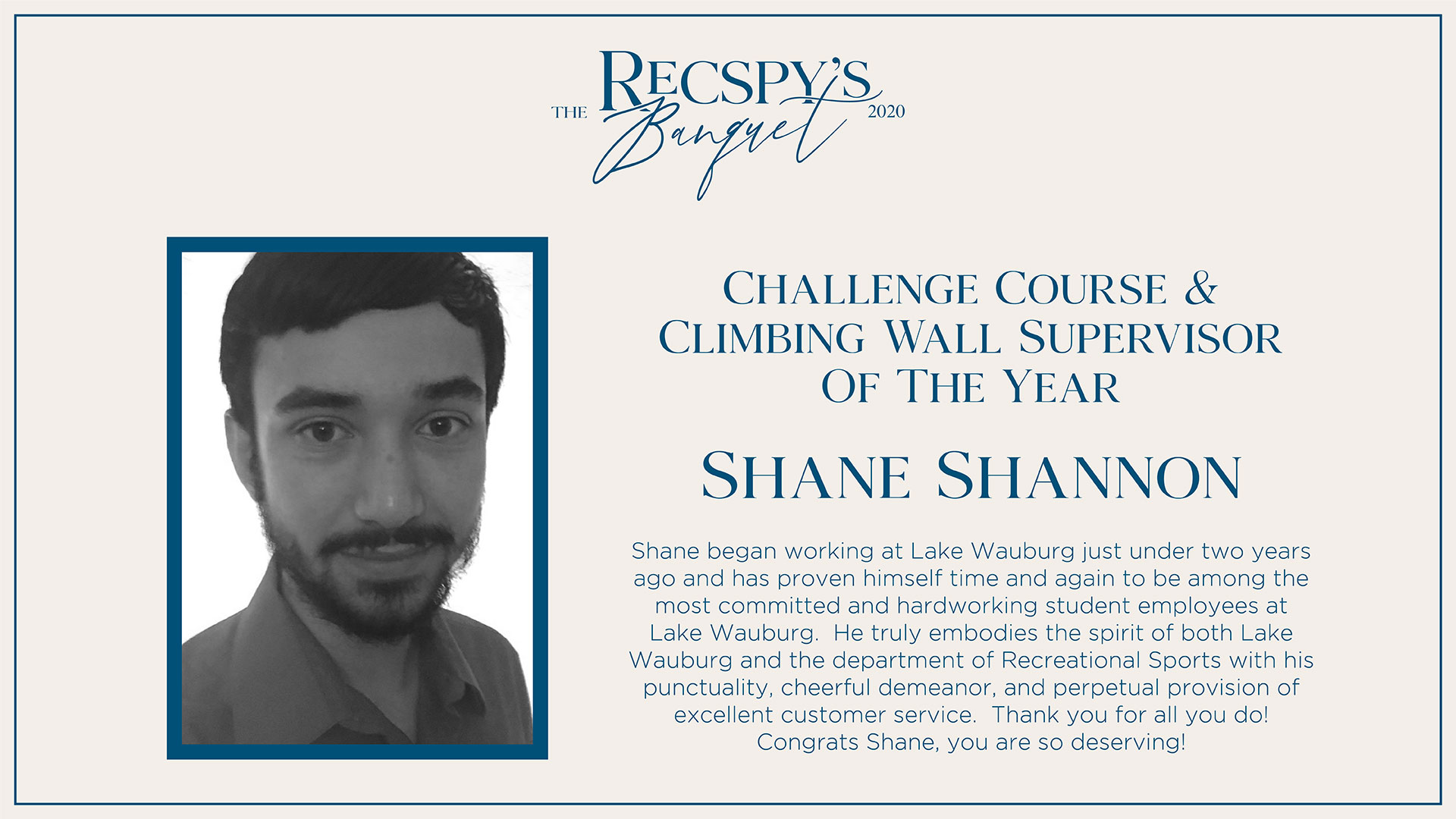 Shane Shannon: Challenge Course and Climbing Wall Supervisor of the Year